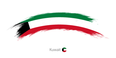 Flag of Kuwait in rounded grunge brush stroke. Vector illustration. Çizim