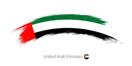 Bandera de Emiratos Árabes Unidos en el trazo de pincel redondeado grunge. Ilustración vectorial