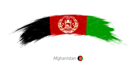 Flag of Afghanistan in rounded grunge brush stroke. Vector illustration.
