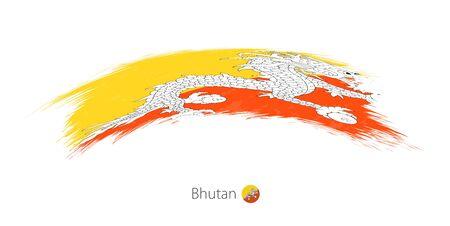 Flag of Bhutan in rounded grunge brush stroke. Vector illustration.
