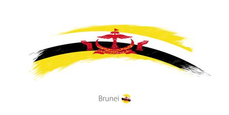 Flag of Brunei in rounded grunge brush stroke. Vector illustration.
