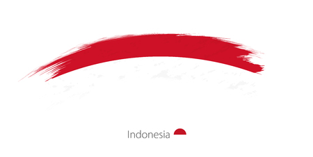 Flag of Indonesia in rounded grunge brush stroke. Vector illustration.