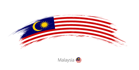 Flag of Malaysia in rounded grunge brush stroke. Vector illustration.  イラスト・ベクター素材