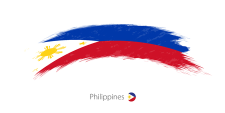 Flag of Philippines in rounded grunge brush stroke. Vector illustration.
