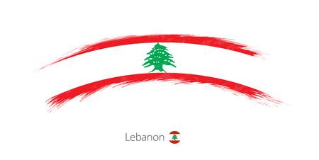 Flag of Lebanon in rounded grunge brush stroke. Vector illustration.