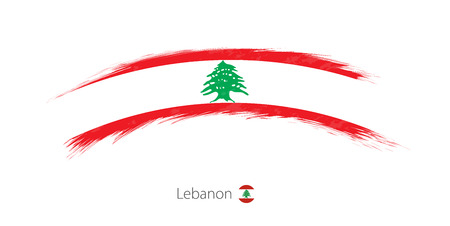 Flag of Lebanon in rounded grunge brush stroke. Vector illustration.