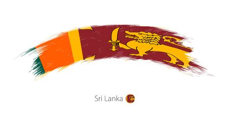 Flag of Sri Lanka in rounded grunge brush stroke. Vector illustration. Illustration