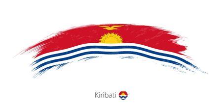 Flag of Kiribati in rounded grunge brush stroke, vector illustration.