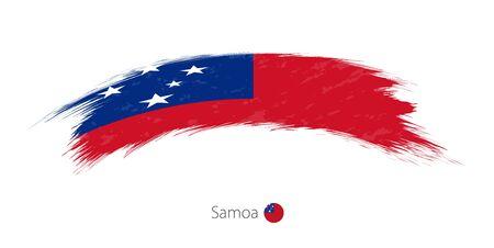 Flag of Samoa in rounded grunge brush stroke, vector illustration.