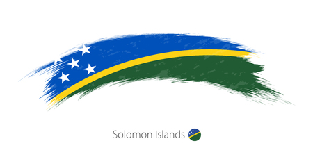 Flag of Solomon Islands in rounded grunge brush stroke, vector illustration. Illustration