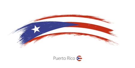 Flag of Puerto Rico in grunge brush stroke Vector illustration.