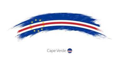 Flag of Cape Verde in grunge brush stroke Vector illustration.