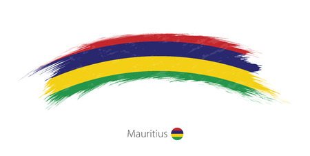 Flag of Mauritius  in grunge brush stroke Vector illustration. Illustration