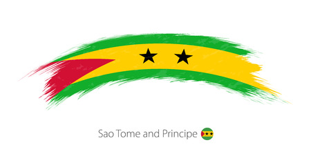 Flag of Sao Tome and Principe  in grunge brush stroke Vector illustration. Illustration