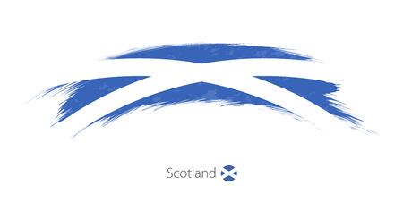 Flag of Scotland  in grunge brush stroke Vector illustration.