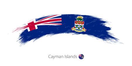 Flag of Cayman Islands in rounded grunge brush stroke. Vector illustration. Illustration