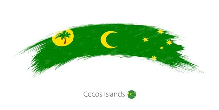 Flag of Cocos Islands in rounded grunge brush stroke. Vector illustration.