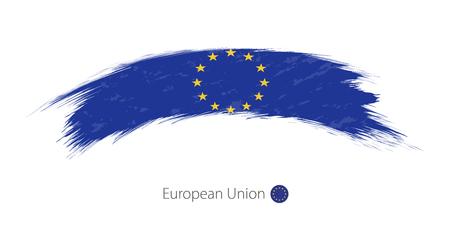 Flag of European Union in rounded grunge brush stroke. Vector illustration.
