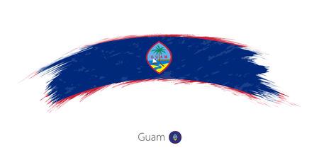 Flag of Guam in rounded grunge brush stroke. Vector illustration. Çizim