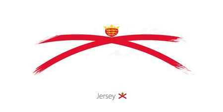 Flag of Jersey in rounded grunge brush stroke. Vector illustration.