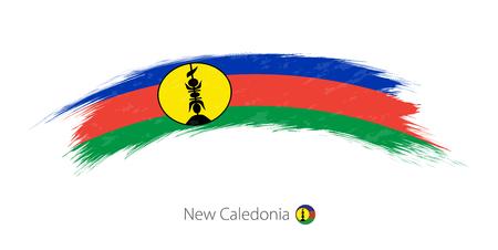 Flag of New Caledonia in rounded grunge brush stroke. Vector illustration.