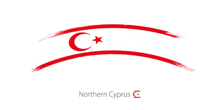 Flag of Northern Cyprus in rounded grunge brush stroke. Vector illustration.