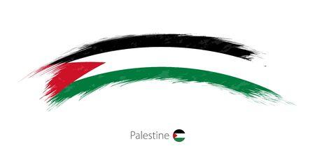 Flag of Palestine in rounded grunge brush stroke. Vector illustration.