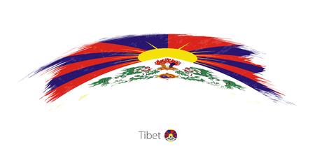 丸みを帯びたグランジ ブラシ ストロークでチベットの旗。ベクトルの図。 写真素材 - 89285741