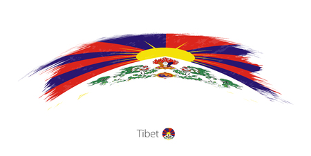 Flag of Tibet in rounded grunge brush stroke. Vector illustration. Illustration