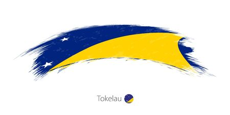 Flag of Tokelau in rounded grunge brush stroke. Vector illustration. Illustration