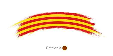 Flag of Catalonia in rounded grunge brush stroke. Vector illustration.