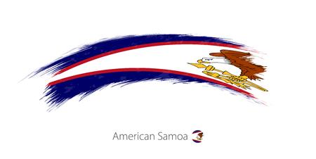 Flag of American Samoa in rounded grunge brush stroke. Vector illustration. Illustration