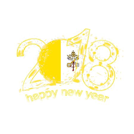 2018 Happy New Year Vatican City grunge vector template for greeting card, calendars 2018, seasonal flyers, christmas invitations and other.