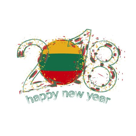 2018 Happy New Year Lithuania grunge vector template for greeting card, calendars 2018, seasonal flyers, christmas invitations and other.
