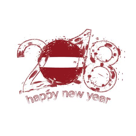 2018 Happy New Year Latvia grunge vector template for greeting card, calendars 2018, seasonal flyers, christmas invitations and other.
