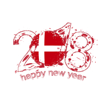 danish flag: 2018 Happy New Year Denmark grunge vector template for greeting card, calendars 2018, seasonal flyers, christmas invitations and other.