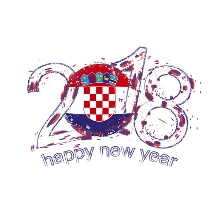 bandera croacia: 2018 Happy New Year Croatia grunge vector template for greeting card, calendars 2018, seasonal flyers, christmas invitations and other.