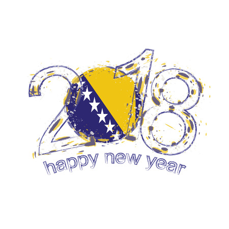 2018 Happy New Year Bosnia and Herzegovina grunge vector template for greeting card, calendars 2018, seasonal flyers, christmas invitations and other.