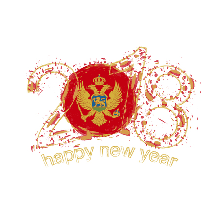 2018 Happy New Year Montenegro grunge vector template for greeting card, calendars 2018, seasonal flyers, christmas invitations and other.