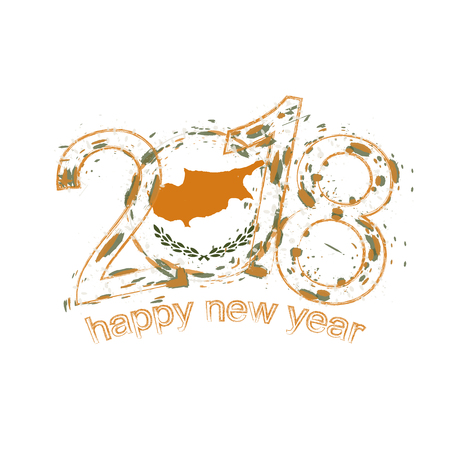 2018 Happy New Year Cyprus grunge vector template for greeting card, calendars 2018, seasonal flyers, christmas invitations and other.