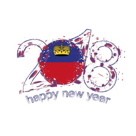 2018 Happy New Year Liechtenstein grunge vector template for greeting card, calendars 2018, seasonal flyers, christmas invitations and other.