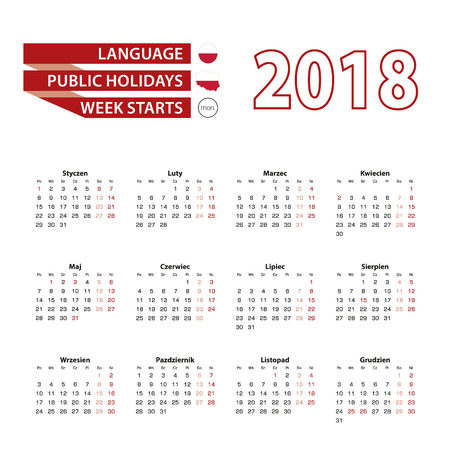 Calendar 2018 in Polish language with public holidays the country of Poland in year 2018. Week starts from Monday. Vector Illustration.