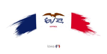 丸みを帯びたグランジ ブラシ ストロークのアイオワ州の旗。ベクトルの図。