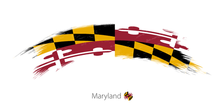 Flag of Maryland state in rounded grunge brush stroke. Vector illustration.