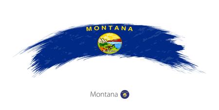 Flag of Montana state in rounded grunge brush stroke. Vector illustration. Иллюстрация
