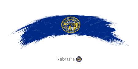 Flag of Nebraska state in rounded grunge brush stroke. Vector illustration.