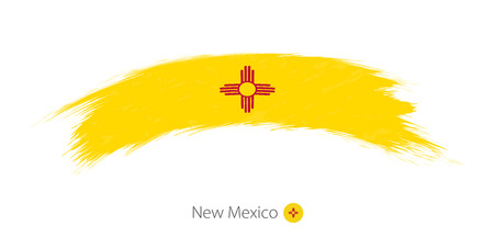 brushed: Flag of New Mexico state in rounded grunge brush stroke. Vector illustration. Illustration