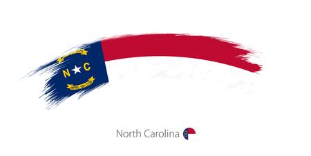 Bandera del estado de Carolina del Norte en el trazo de pincel redondeado grunge. Ilustración vectorial