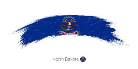 Flag of North Dakota state in rounded grunge brush stroke. Vector illustration.