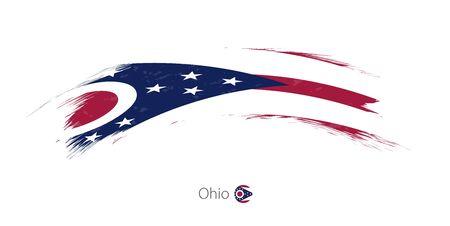 brushed: Flag of Ohio state in rounded grunge brush stroke. Vector illustration.